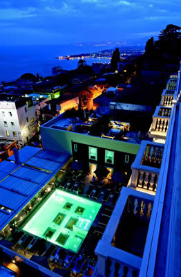 Hotel Imperiale pool view by night, Taormina, Sicily, Italy | Bown's Best