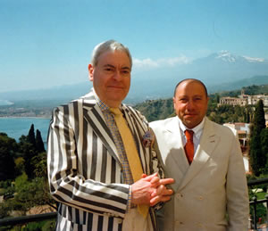 Francis Bown with Maitre d'Demetrio Lombardo, The Restaurant, Grand Hotel Timeo, Taormina, Sicily, Italy | Bown's Best