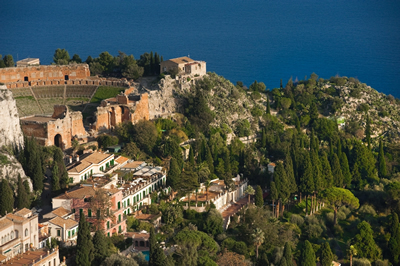 Aerial view of Grand Hotel Timeo, Taormina, Sicily, Italy | Bown's Best