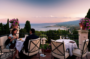 Terrace at dusk, The Restaurant, Grand Hotel Timeo, Taormina, Sicily, Italy | Bown's Best