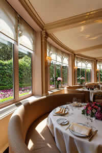 Dining room overlooking gardens at Restaurant Laurent, Paris, France | Bown's Best