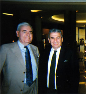 General Manager Claudio Ceccherelli with Francis Bown at Grand Hyatt Cannes Hotel Martinez & Restaurant La Palme d'Or | Bown's Best
